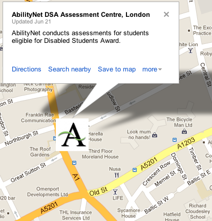 link to Google map for AbilityNet Assessment Centre in London