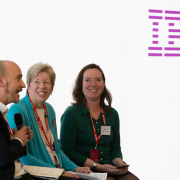 Hector Minto, Sharon Spencer and Ellie Southwood at TechSharePro panel