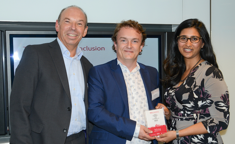 AbilityNet CEO Nigel Lewis is shown with Ben Chalcraft and Sheekha Rajani of DiversityJobs.co.uk
