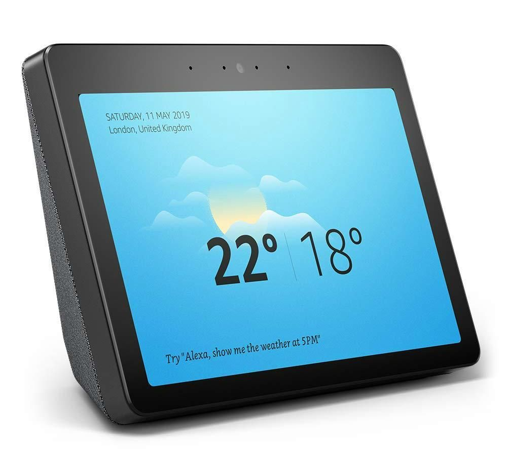 Colour photo of the Echo Show screen showing the weather temperature