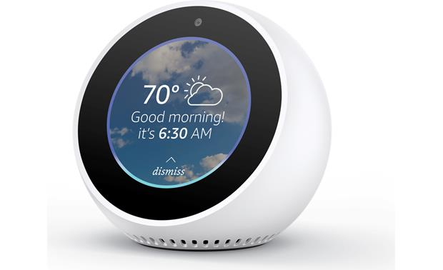 Photo of the Echo Spot with Good morning its 6.30am message on the screen, current temperature and weather forecast