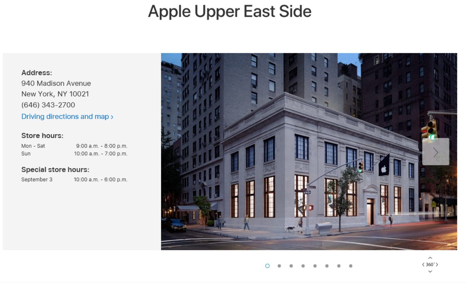 Apple East Side Address, Madison Avenue