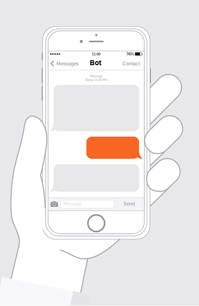 Conversation on mobile phone with bot