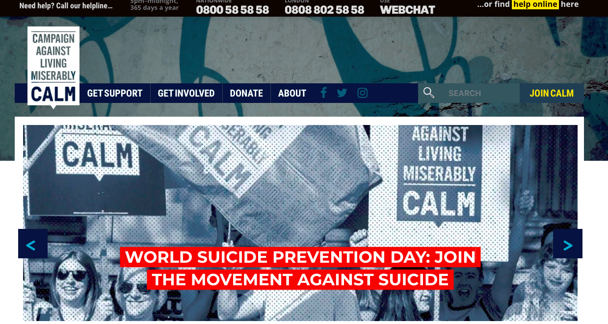 Image from CALM website Test reads World suicide prevent day 2019 the movement against suicide