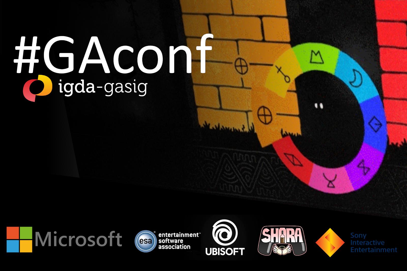 Gambar spanduk GAconf dengan latar belakang sponsor dan video game