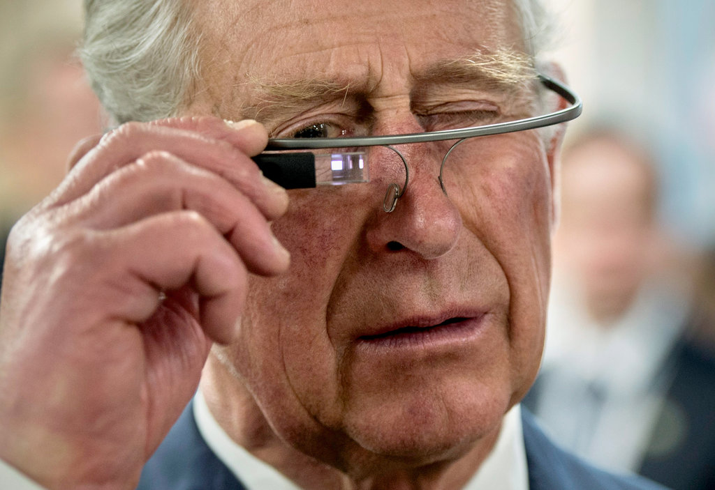 Prince Charles trying Google Glass