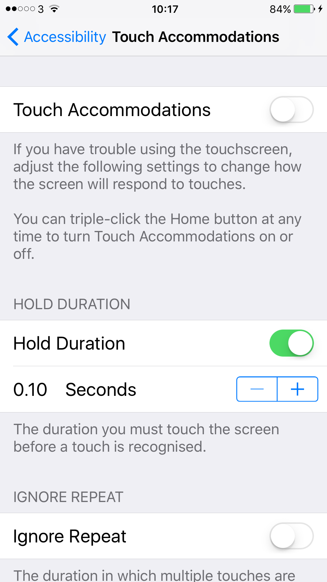 screenshot of Touch Accommodations menu settings showing hold duration options