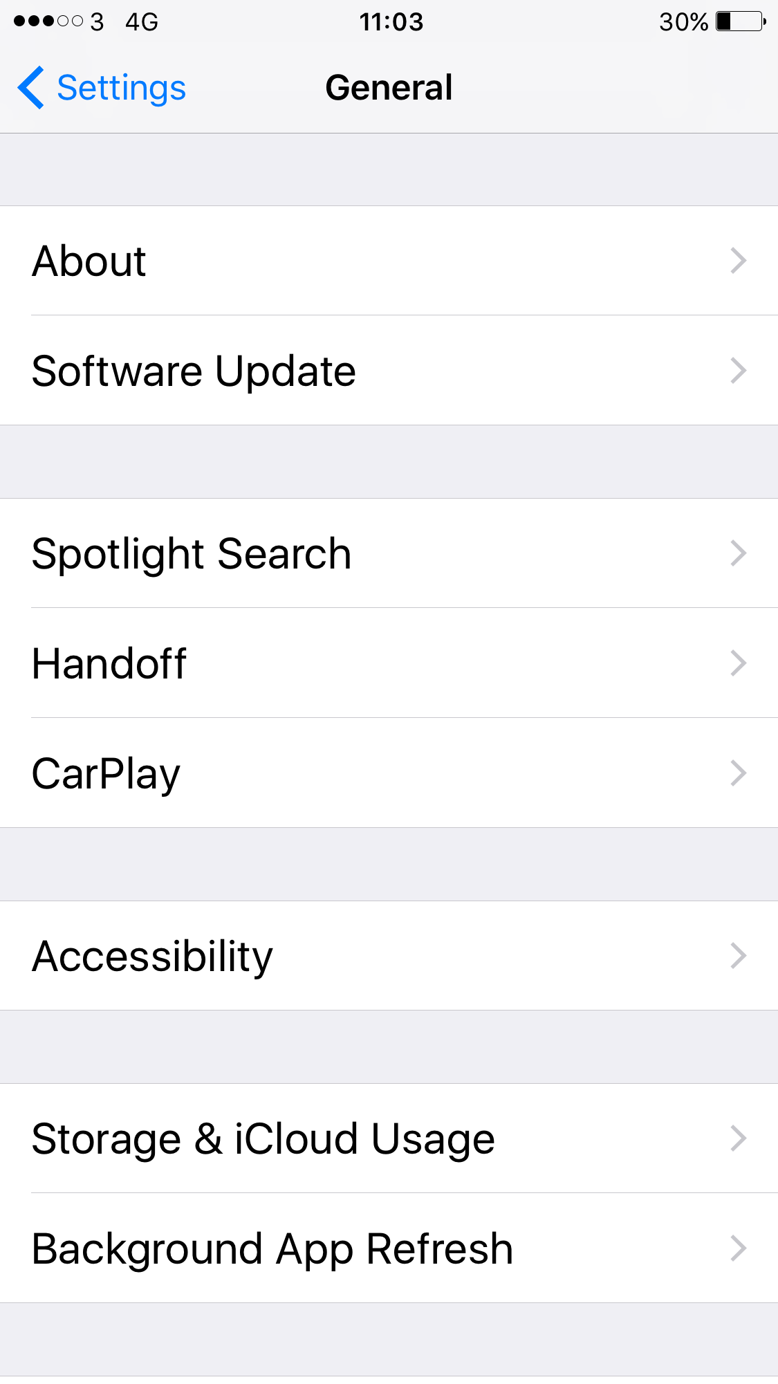 Screenshot of Apple General Settings showing ACcessibility menu item