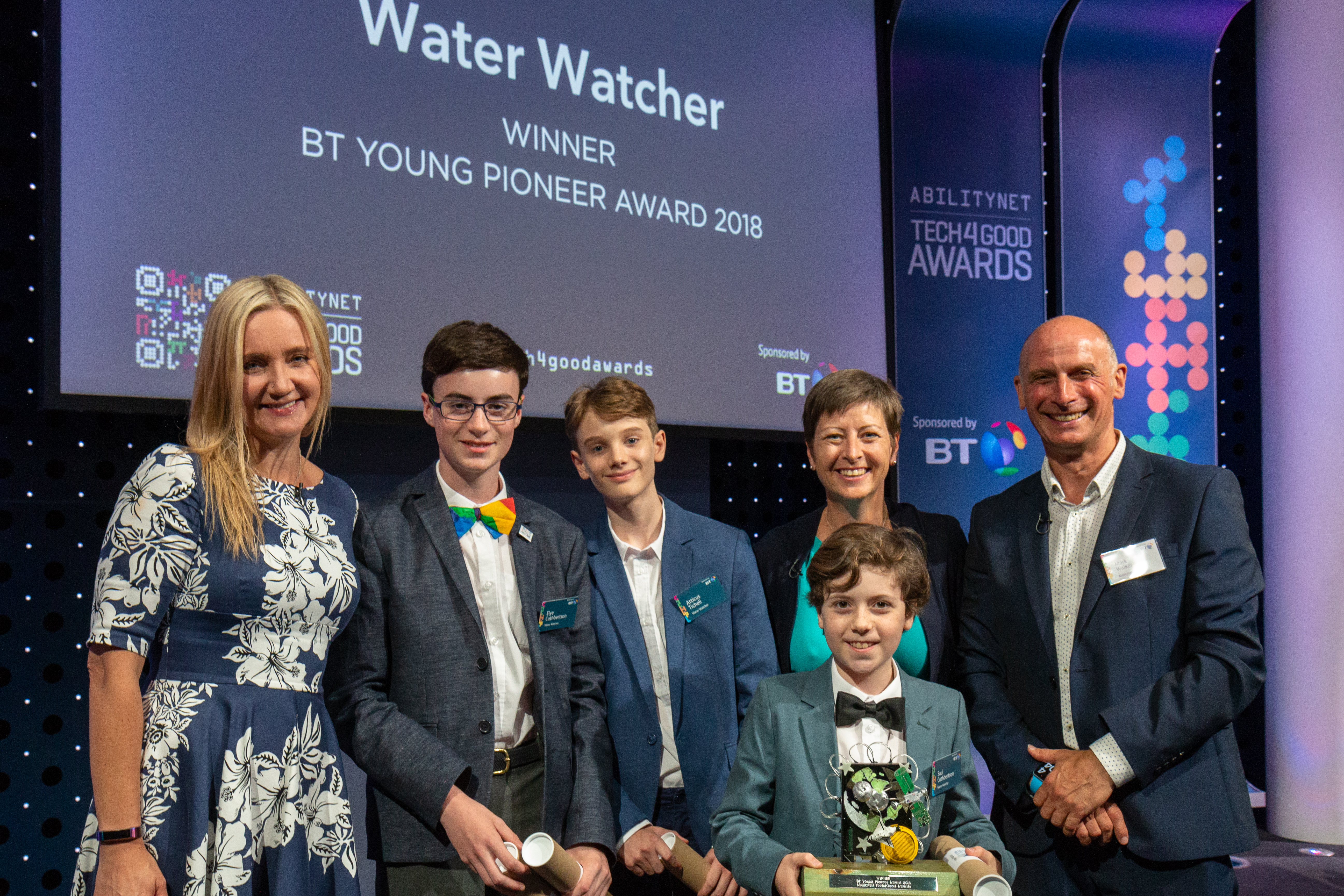 Kate Russell, Mark Walker and the 2018 BT Young Pioneer Award winners - Water Watcher