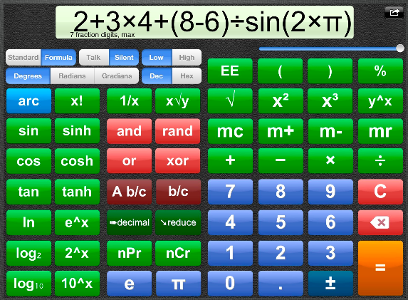 Talking scientific calculator as it appears on the iPad