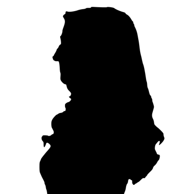 A silhouette of a female student
