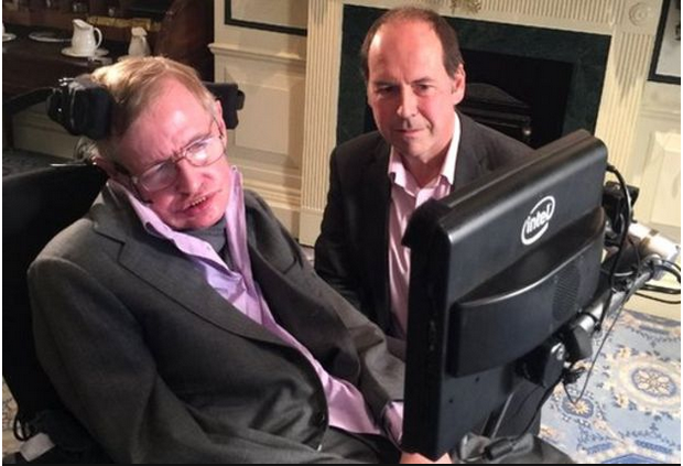 Prof Stephen Hawking and Rotry Cellyn Jones of the BBC