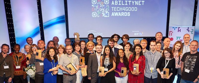 Photo of the winners from the 2017 AbilityNet Tech4Good Awards