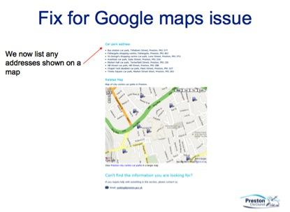 Preston City Council web accessibility issue, Google Maps