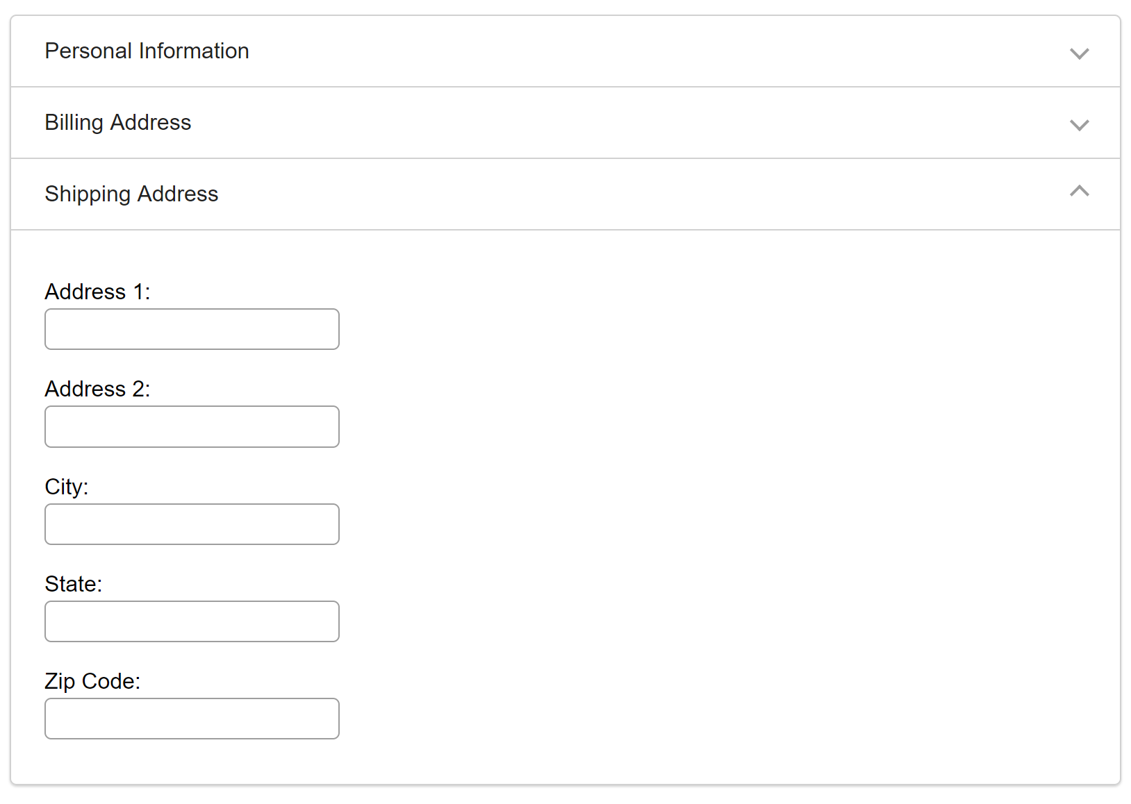 example accordion for checkout with billing address option expanded