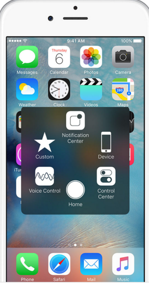 Apple assistive touch menu on iphone screen