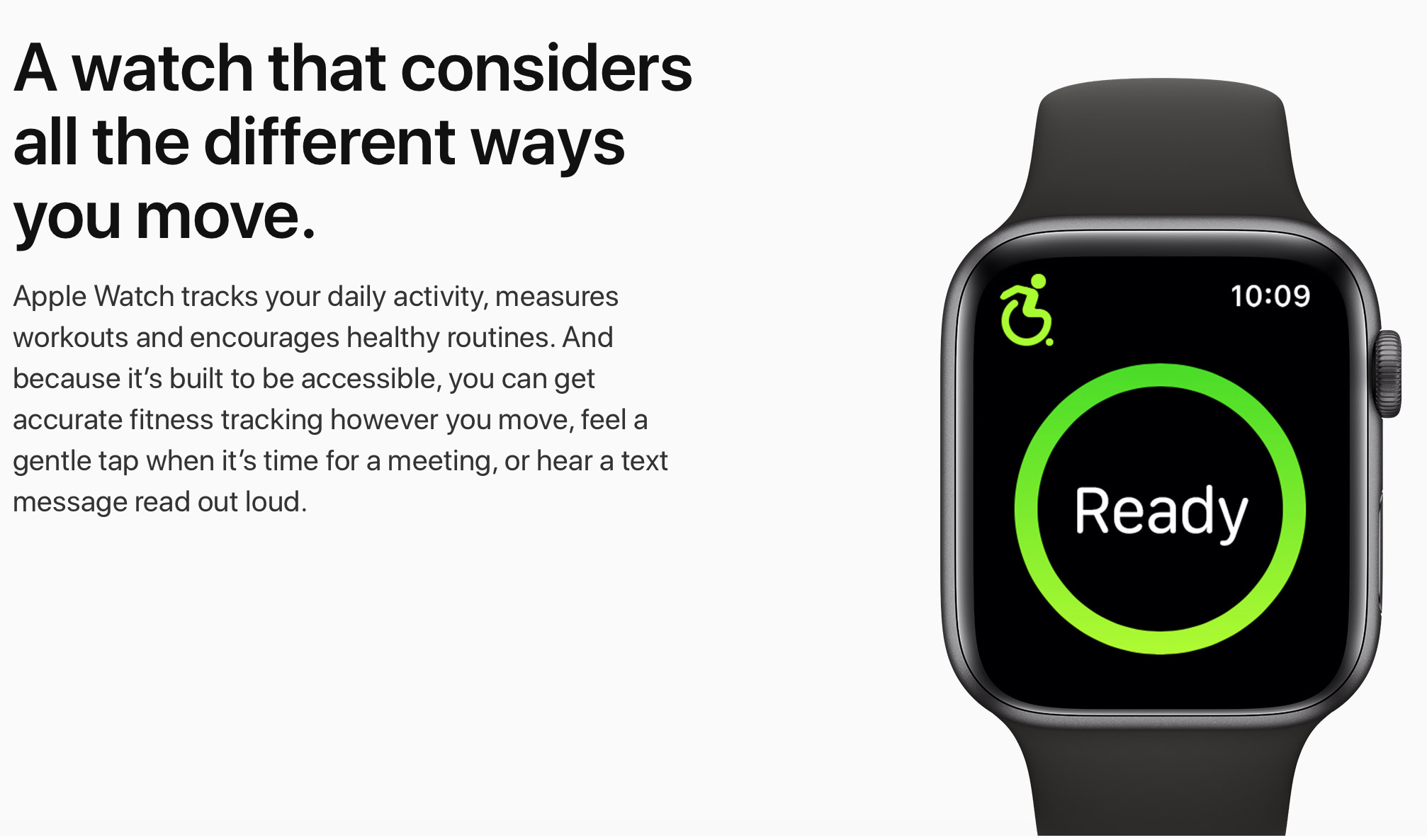 an Apple advert for the smart watch states 'a watch that considers the different ways you move' with a picture of the app on the watch