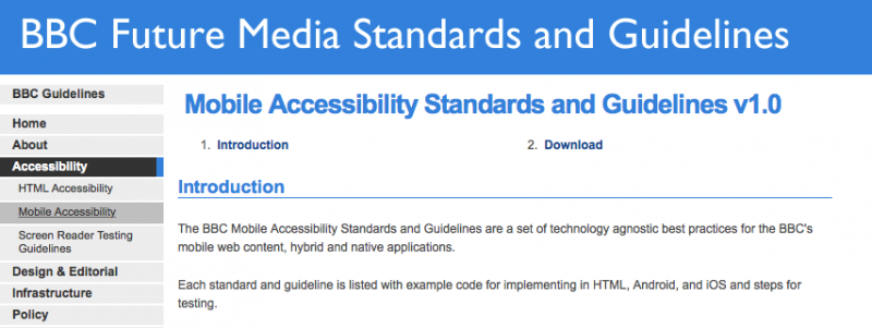 a snap shot of the BBC accessibility page