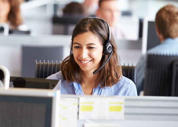 woman with headset, answering a phone call