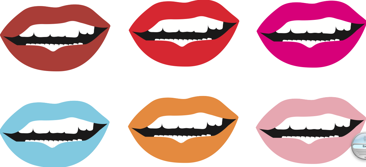 brightly coloured lips cartoon style