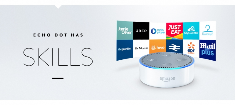 Echo Dot has skills that can be accessed via the Aamzon store