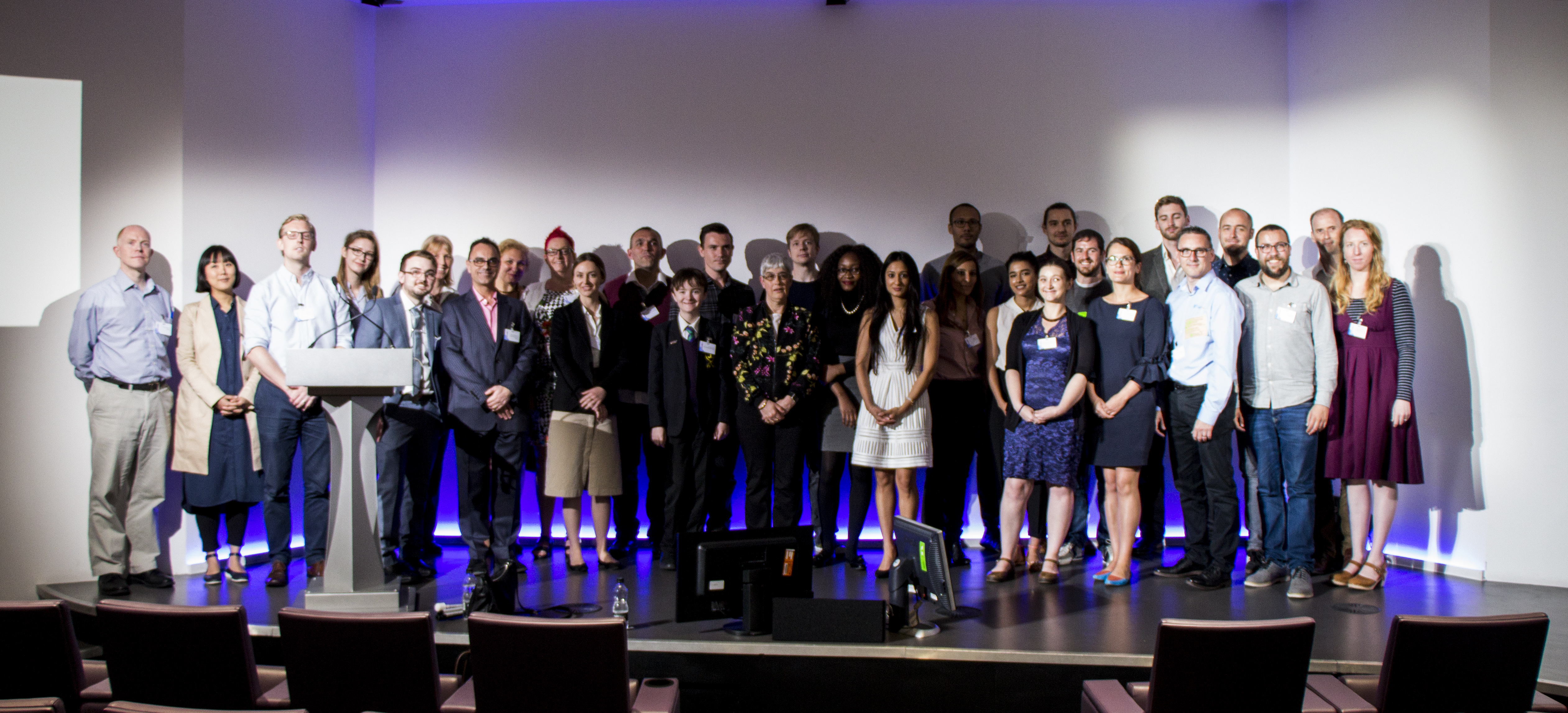 The 32 AbilityNet finalists 2017 on stage at BT Tower