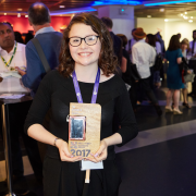Kiera pictured with her award for BT Young Pioneer at the Tech4Good awards
