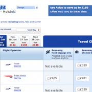screenshot of flight booking page
