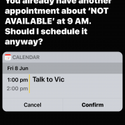 iPhone Screen showing message from Siri about appointment