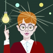 cartoon girl pointing brightly lit inspiration lightbulb