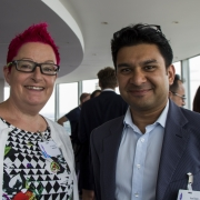 Sue Black of tech mums pictured smiling at Tech4Good finalists networking event