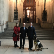 Tracey Johnson, Hector Minto and Robin Christopherson in Parliament