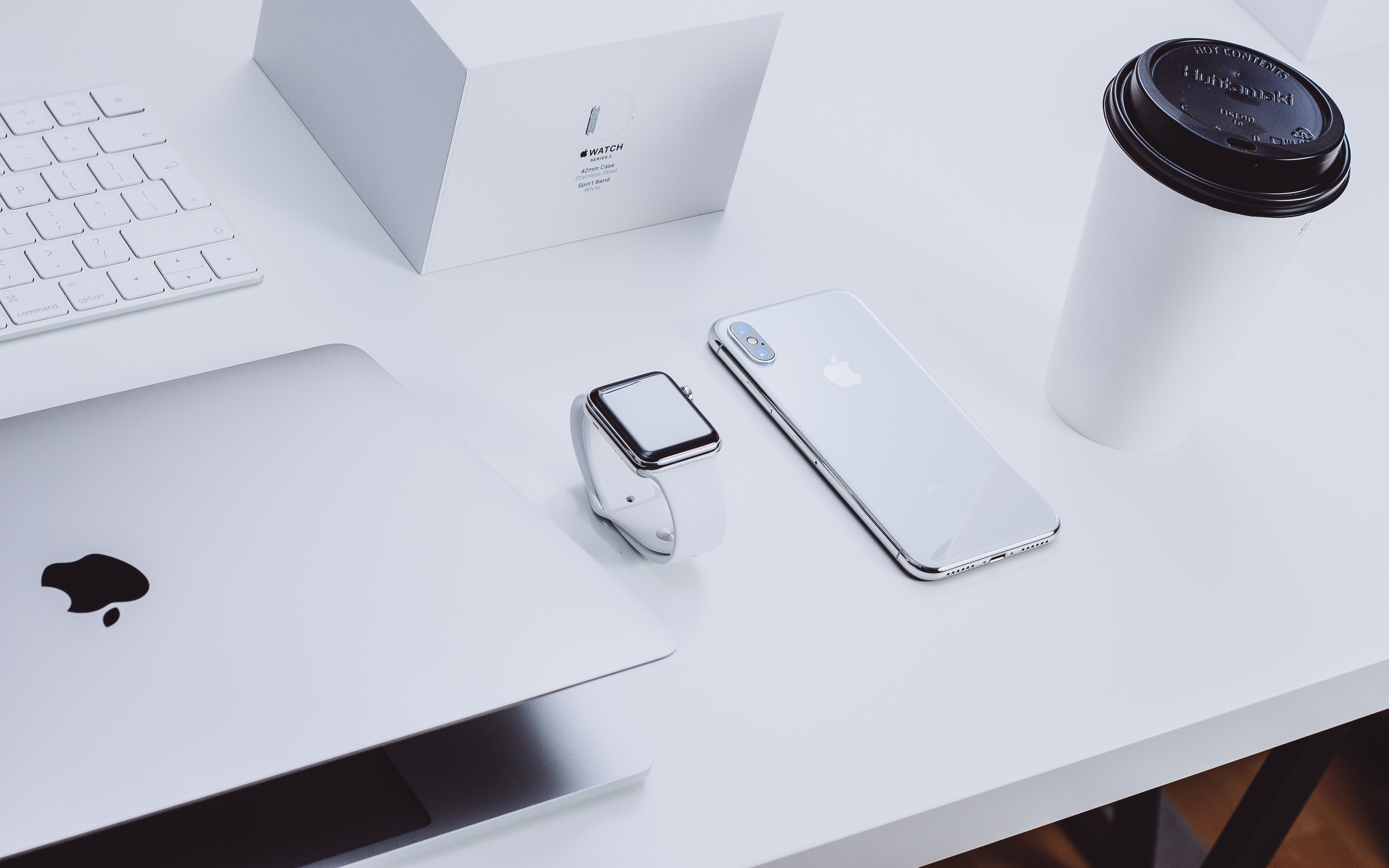 Apple products on a table