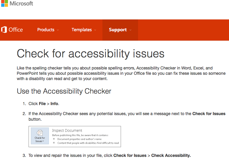 screen shot - Microsoft accessibility checker is buit into PC versions of Microsoft Office