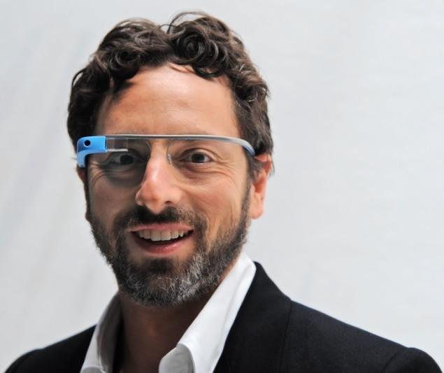 Google co-founder wearing a pair of Google glasses