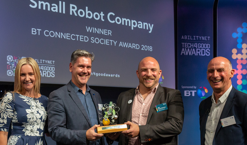 Small Robot Company won the BT Connected Society Award at AbilityNet Tech4Good Awards 2018