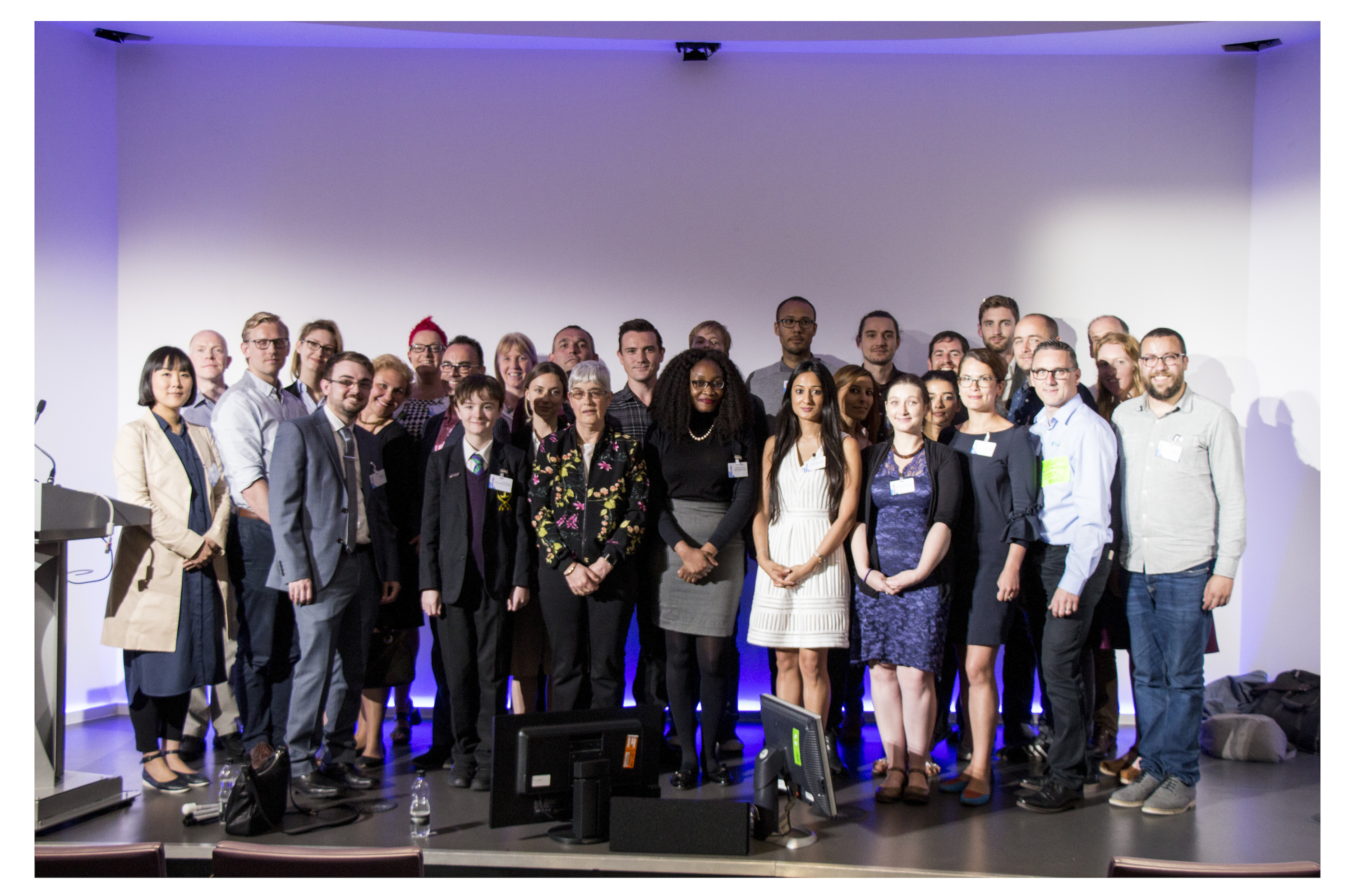 pic of 32 finalists at tech4good finals in BT Tower
