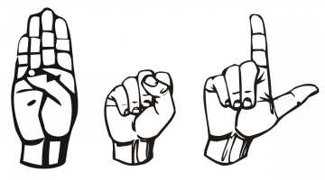 Vector graphic of BSL (British Sign Language) spelt out in BSL with hands