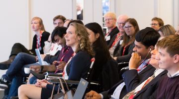 Photo of Sophie Christiansen CBE in the audience before her speech at TechShare Pro 2017