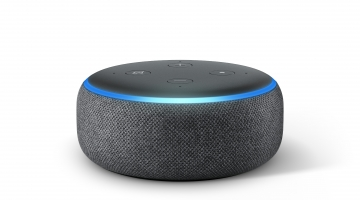 An Echo Dot seen from the front