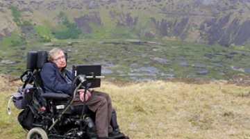 Stephen Hawking in green countryside