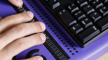 purple braille computer