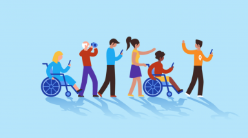 google local guides cartoon image including people in wheelchairs on a guided tour